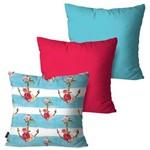 Kit com 3 Almofadas Decorativas Azul Âncoras e Flores