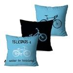 Kit com 3 Almofadas Decorativas Azul Bicicleta Felicidade