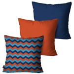 Kit com 3 Almofadas Decorativas Azul Chevron