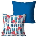 Kit com 2 Almofadas Decorativas Azul Flamingos Listras