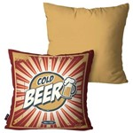 Kit com 2 Almofadas Decorativas Bege Cold Beer