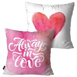 Kit com 2 Almofadas Decorativas Branco Aways In Love