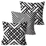 Kit com 3 Almofadas Decorativas Branco Linhas