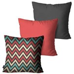 Kit com 3 Almofadas Decorativas Chumbo Chevron