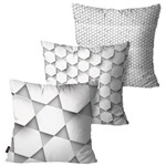 Kit com 3 Almofadas Decorativas Cinza 3D Formas