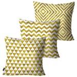 Kit com 3 Almofadas Decorativas Dourado Geométricos