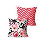 Kit com 2 Almofadas Decorativas Infantil Vermelho Cats Chevron