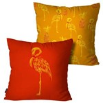 Kit com 2 Almofadas Decorativas Laranja Flamingos