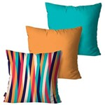 Kit com 3 Almofadas Decorativas Listras Laranja Coloridas