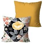 Kit com 2 Almofadas Decorativas Ocre Flor