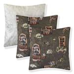 Kit com 3 Almofadas Decorativas para Sala Sofá 40x40 e 45x45 Janelinhas