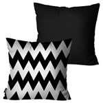 Kit com 2 Almofadas Decorativas Preto Chevron