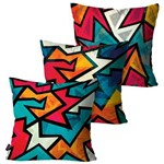 Kit com 3 Almofadas Decorativas Preto Geometric Collors