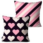 Kit com 2 Almofadas Decorativas Rosa Coração
