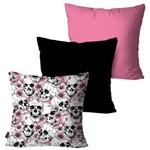 Kit com 3 Almofadas Decorativas Rosa Multi Caveiras