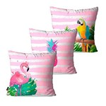 Kit com 3 Almofadas Decorativas Rosa Tropical