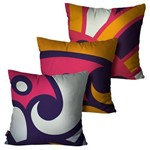 Kit com 3 Almofadas Decorativas Roxo Abstrata