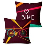 Kit com 2 Almofadas Decorativas Roxo I Love Bike
