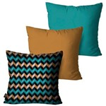 Kit com 3 Almofadas Decorativas Turquesa Chevron Multi Color