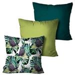 Kit com 3 Almofadas Decorativas Verde Abacaxi