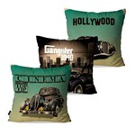 Kit com 3 Almofadas Decorativas Verde Cinema Hollywood