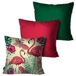 Kit com 3 Almofadas Decorativas Verde Flamingo