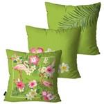 Kit com 3 Almofadas Decorativas Verde Flores e Flamingos
