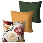 Kit com 3 Almofadas Decorativas Verde Pintura Flor
