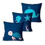 Kit com 3 Almofadas Infantil Azul Fundo do Mar