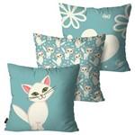 Kit com 3 Almofadas Infantil Azul Gatos