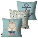 Kit com 3 Almofadas Infantil Azul Hipopótamos
