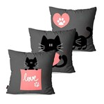 Kit com 3 Almofadas Infantil Cinza Cat Love