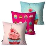 Kit com 3 Almofadas Infantil Pink Cupcake