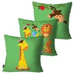 Kit com 3 Almofadas Infantil Verde Zoo Animais