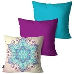 Kit com 3 Almofadas Turquesa Sweet Flower