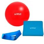 Kit com Bola 45 Cm + Faixa Elastica Forte + Mini Band Forte Azul Liveup