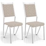Kit com 2 Cadeiras para Copa, Cromada, Linho Marrom, Londres III
