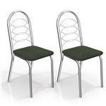 Kit com 2 Cadeiras para Copa, Cromada, Veludo Oliva 25, Holanda III