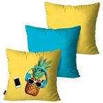 Kit com 3 Capas para Almofadas Decorativas Amarelo Abacaxi Music