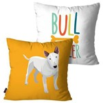 Kit com 2 Capas para Almofadas Decorativas Amarelo Cachorro Bull Terrier