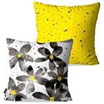 Kit com 2 Capas para Almofadas Decorativas Amarelo Flores