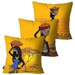 Kit com 3 Capas para Almofadas Decorativas Amarelo Mulheres Africanas
