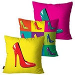 Kit com 3 Capas para Almofadas Decorativas Amarelo Sapatos