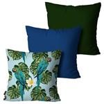 Kit com 3 Capas para Almofadas Decorativas Azul Araras