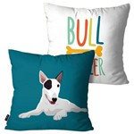 Kit com 2 Capas para Almofadas Decorativas Azul Cachorro Bull Terrier