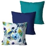 Kit com 3 Capas para Almofadas Decorativas Azul Desenho Penas