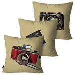 Kit com 3 Capas para Almofadas Decorativas Bege Câmeras Fotográficas