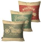 Kit com 3 Capas para Almofadas Decorativas Bege Retrô Freedom