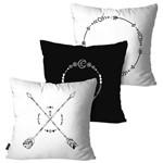 Kit com 3 Capas para Almofadas Decorativas Branco Flechas Boho