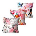 Kit com 3 Capas para Almofadas Decorativas Branco Pássaros Cerejeira